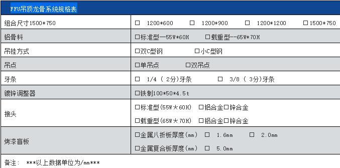 FFU龙骨吊顶系统规格表